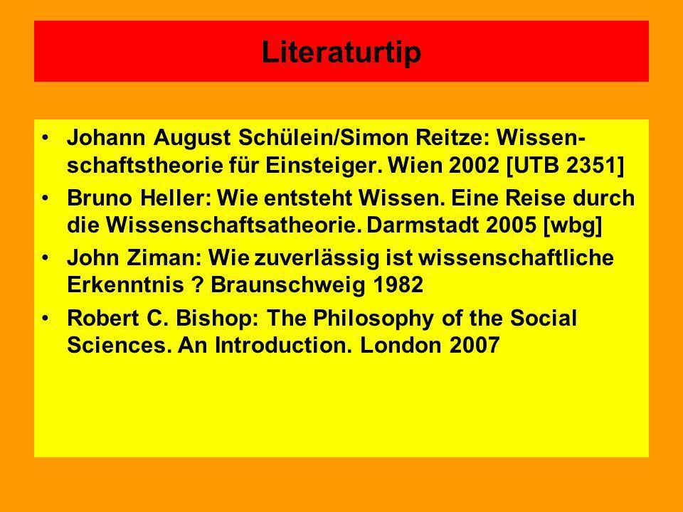 Literaturtip Johann August Schülein/Simon Reitze: Wissen-schaftstheorie für Einsteiger. Wien 2002 [UTB 2351]